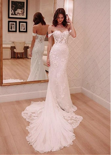 Romantic Tulle & Lace Off-the-shoulder Neckline Mermaid Wedding Dresses With Lace Appliques