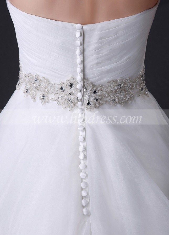 Elegant Organza Sweetheart Neckline Wedding Dress With Embroidered Beadings & Rhinestones