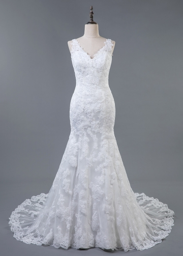 Wonderful Tulle V-neck Neckline Natural Waistline Mermaid Wedding Dress With Lace Appliques