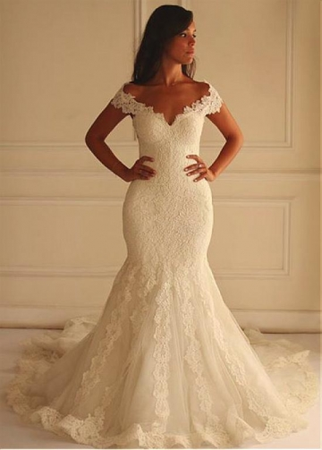 Stunning Lace Off-the-shoulder Neckline Mermaid Wedding Dress