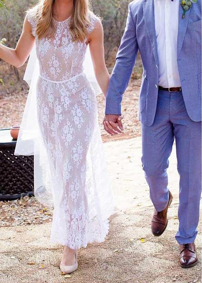 Brilliant Lace Jewel Neckline Sheath/Column Wedding Dresses With Belt
