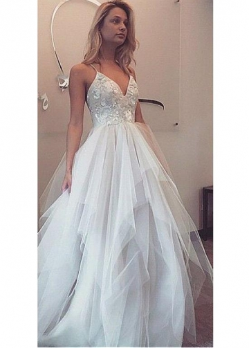 Charming Tulle Spaghetti Straps Neckline A-line Wedding Dresses With Sequin Lace Appliques