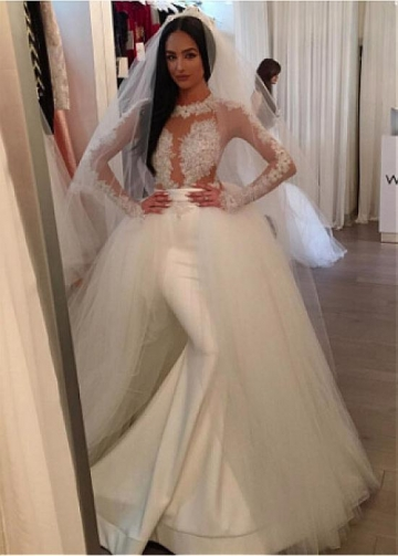 Charming Tulle & Satin High Collar Mermaid Wedding Dresses With Beaded Lace Appliques & Belt