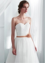 Modest Tulle Sweetheart Neckline A-line Wedding Dresses With Lace Appliques & Belt