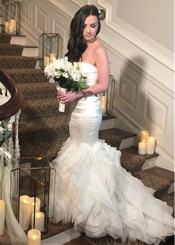 Modest Satin & Organza Strapless Neckline Mermaid Wedding Dresses