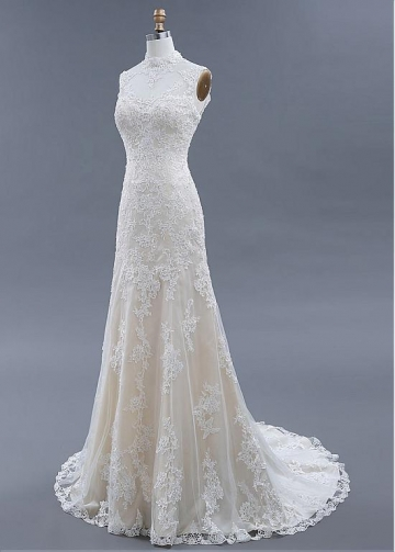 Wonderful Tulle Illusion High Collar Mermaid Wedding Dresses With Beadings & Lace Appliques