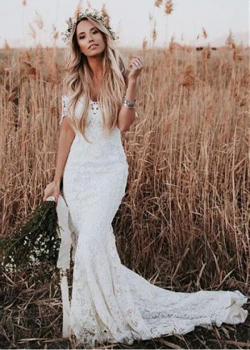 Romantic Lace Sheer Jewel Neckline Full-length Mermaid Wedding Dresses