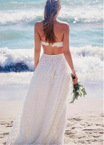 Charming Lace Strapless Neckline Two-piece A-line Wedding Dress