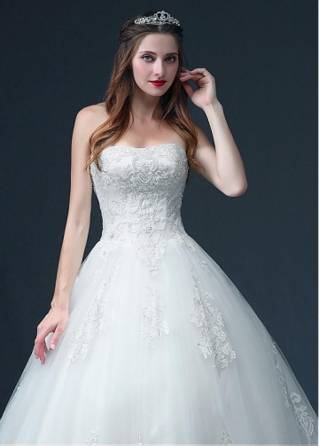 Junoesque Tulle Strapless Neckline Ball Gown Wedding Dress With Lace Appliques & Beadings