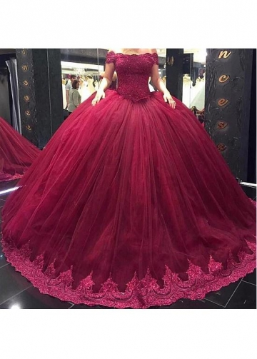 Unique Tulle Off-the-shoulder Neckline Ball Gown Wedding Dress With Lace Appliques