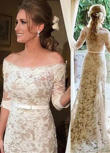 Fascinating Lace Off-the-shoulder Neckline Sheath/Column Wedding Dress With Belt