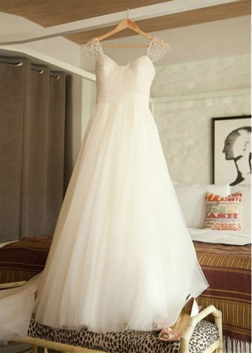 Glamorous Tulle Scoop Neckline A-line Wedding Dress With Beadings & Detachable Belt