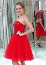Amazing Sequin Lace & Tulle Strapless Neckline Short Length A-line Cocktail Dresses