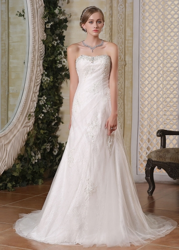 Elegant Tulle Sweetheart Neckline Lace Appliques A-line Wedding Dresses