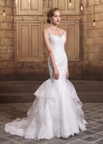 Gorgeous Organza Spaghetti Straps Neckline Lace Appliques Mermaid Wedding Dresses