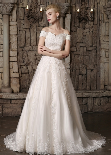 Glamorous Tulle Off-the-shoulder Neckline A-line Wedding Dresses With Beaded Lace Appliques