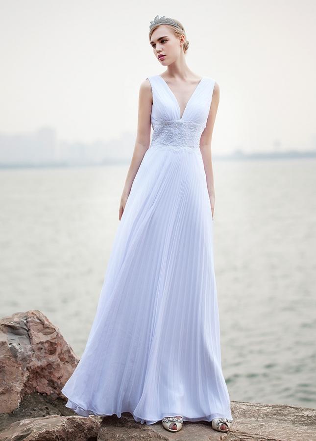Stunning Chiffon V-neck Neckline A-line Wedding Dresses