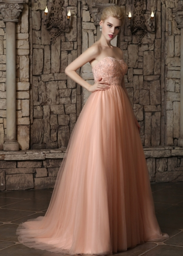Glamorous Tulle Strapless Neckline Beaded A-line Wedding Dresses