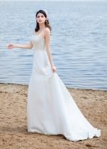 Elegant Satin Strapless Neckline A-line Wedding Dresses