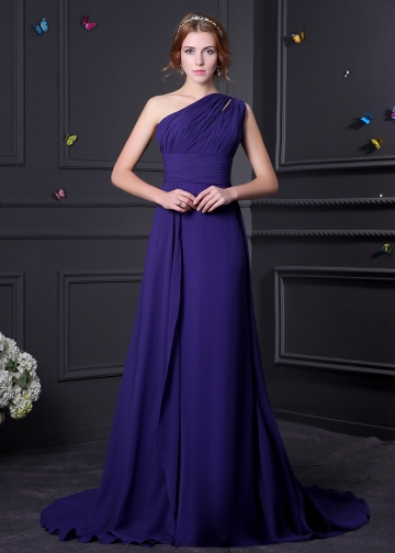 Elegant Chiffon One Shoulder Neckline A-line Bridesmaid Dress