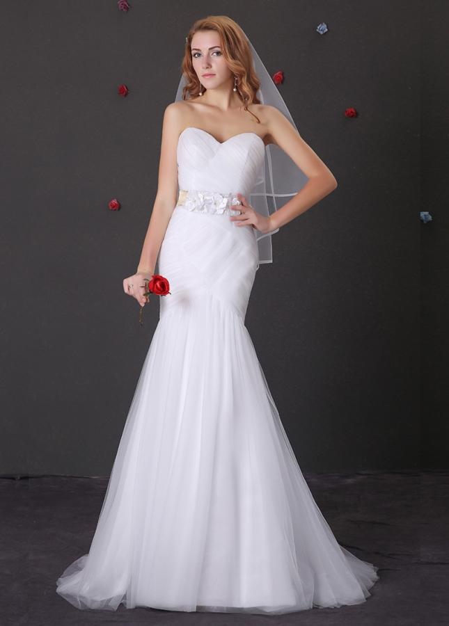 Elegant Tulle Sweetheart Neckline Mermaid Wedding Dress