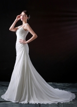 Graceful Chiffon A-line Sweetheart Neckline Wedding Dress With Beaded Lace Appliques
