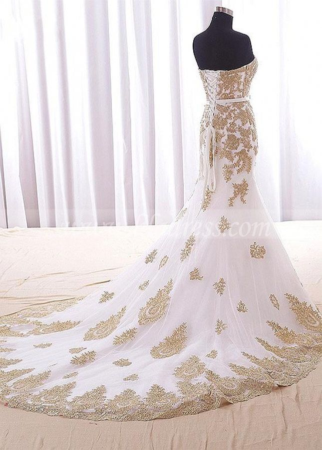 Splendid Tulle Sweetheart Neckline Floor-length Mermaid Evening Dresses With Lace Appliques & Bowknot
