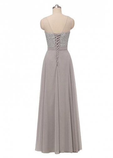 Elegant Chiffon Scoop Neckline A-line Evening Dress With Lace Appliques & Sash