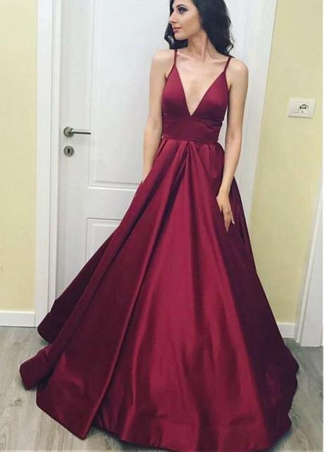Beautiful Satin Spaghetti Straps Neckline A-line Prom Dress