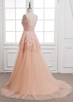 Stunning Tulle & Lace V-neck Neckline A-Line Evening Dresses With Beaded Lace Appliques & Belt
