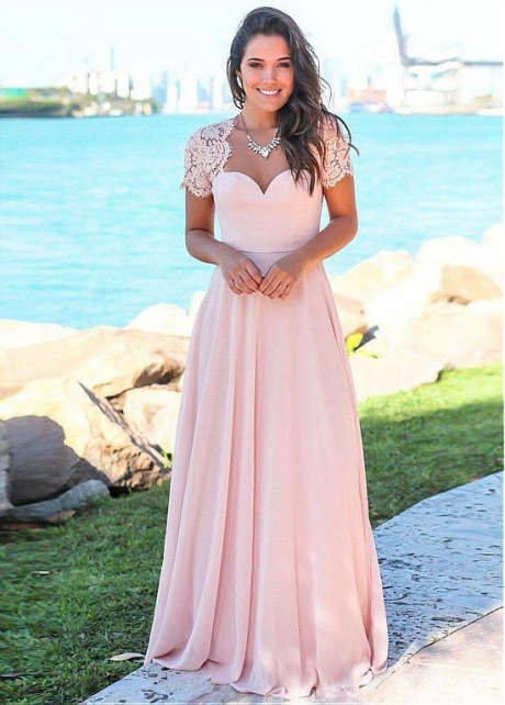 Modest Lace & Chiffon Swetheart Neckline A-line Bridesmaid Dresses With Belt