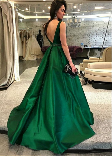 Elegant Satin Bateau Neckline Floor-length A-line Evening Dresses With Beadings