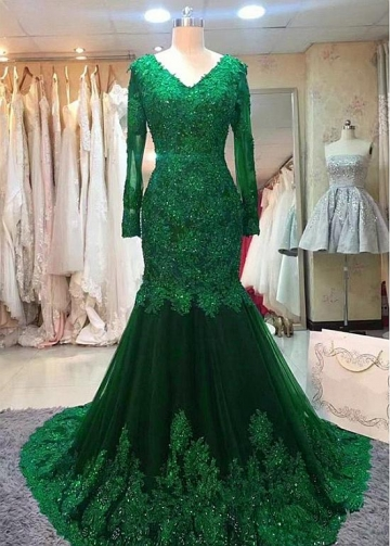 Beautiful Tulle V-neck Neckline Floor-length Mermaid Evening Dresses With Long Sleeves