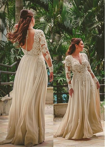 Modest Chiffon V-neck Neckline Long Sleeves A-line Evening Dress With Beaded Lace Appliques