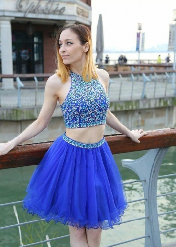 Blue Two-piece Homecoming Gown with Beaded Bodice