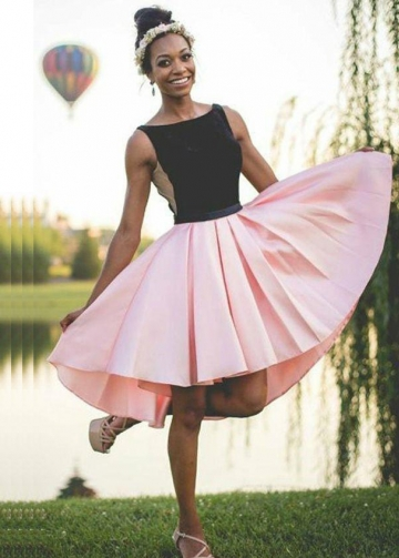 Black and Pink Hi-lo Homecoming Dresses Sleeveless