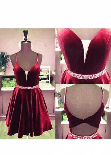 Burgundy Velvet Homecoming Dress Short Plunging V-neckline