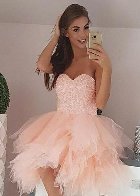 Beaded Corset Homecomng Dress with Ruffled Tulle Skirt