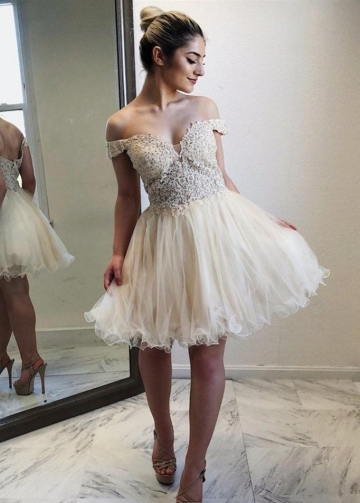 Beaded Lace Tulle Skirt Homecoming Short Dresses Off-the-shoulder
