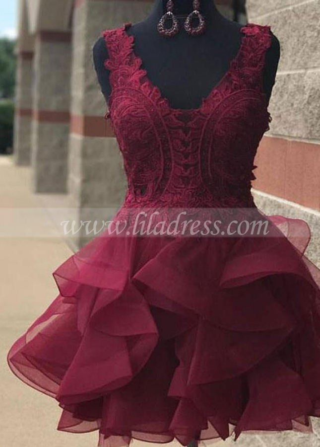 Burgundy Lace Short Homecoming Gown with Horsehair Skirt