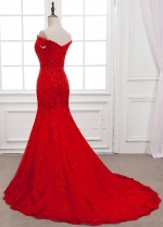 Fabulous Tulle Off-the-shoulder Neckline Mermaid Formal Dress With Beaded Lace Appliques