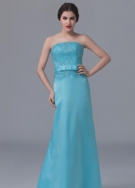 Beaded Lace Light Blue Satin Long Bridesmaid Wedding Guests Dresses