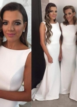 Boat Neck Ivory Bridesmaid Wedding Party Dress Customized