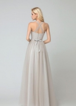 Beaded Halter Tulle Wedding Guest Dresses Long