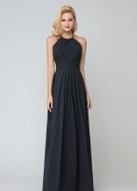 Black Chiffon Halter Bridesmaid Dress Floor Length