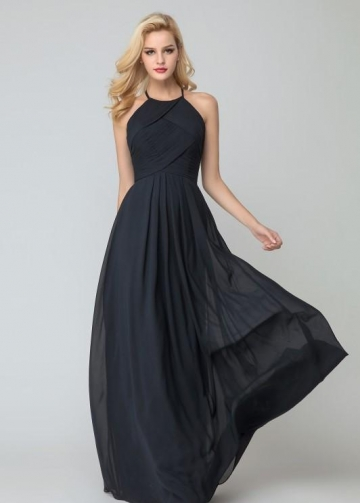 Black Chiffon Halter Bridesmaid Dress Floor Length