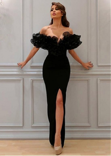 Charming Organza & Spandex Off-the-shoulder Neckline Floor-length Sheath/Column Evening Dresses With Slit