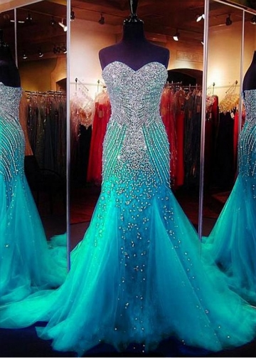 Sparkly Blue Tulle Sweetheart Neckline Mermaid Evening Dresses