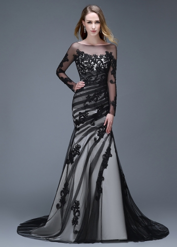 Alluring Tulle Bateau Neckline Mermaid Evening Dresses