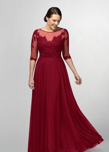 Burgundy Chiffon Long Brides Mother Dresses Plus Size